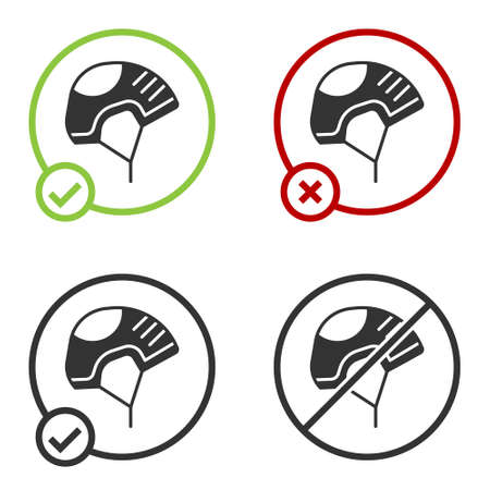 Black Helmet icon isolated on white background. Extreme sport. Sport equipment. Circle button. Vector Illustration