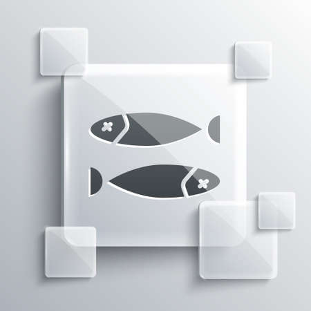 Grey Dried fish icon isolated on grey background. Square glass panels. Vector Illustration