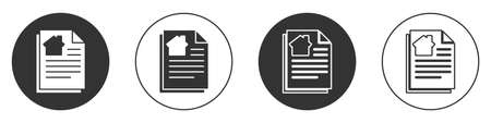 Black House contract icon isolated on white background. Contract creation service, document formation, application form composition. Circle button. Vector Illustration Stock Illustratie