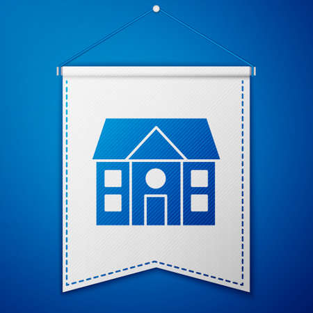 Blue House icon isolated on blue background. Home symbol. White pennant template. Vector Illustration