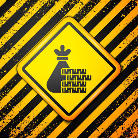 Black Money bag and coin icon isolated on yellow background. Dollar or USD symbol. Cash Banking currency sign. Warning sign. Vector Illustration