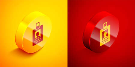 Isometric Identification badge icon isolated on orange and red background. It can be used for presentation, identity of the company, advertising. Circle button. Vector Illustration