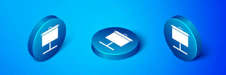 Isometric Projection screen icon isolated on blue background. Business presentation visual content like slides, infographics and video. Blue circle button. Vector Illustration Illustration