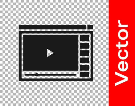 Black Online play video icon isolated on transparent background. Film strip with play sign. Vector Illustration