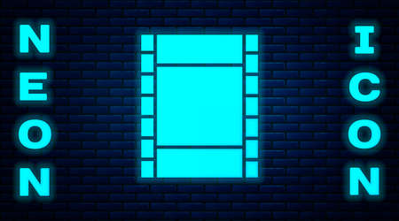 Glowing neon Play Video icon isolated on brick wall background. Film strip sign. Vector Illustration Illustration