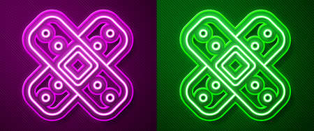 Glowing neon line Crossed bandage plaster icon isolated on purple and green background. Medical plaster, adhesive bandage, flexible fabric bandage. Vector Illustration