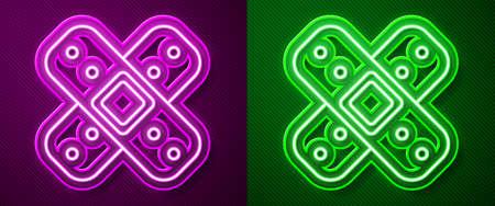 Glowing neon line Crossed bandage plaster icon isolated on purple and green background. Medical plaster, adhesive bandage, flexible fabric bandage. Vector Illustration