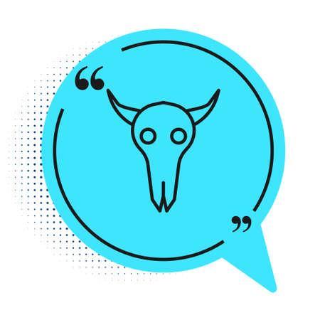 Black line Buffalo skull icon isolated on white background. Blue speech bubble symbol. Vector Illustration