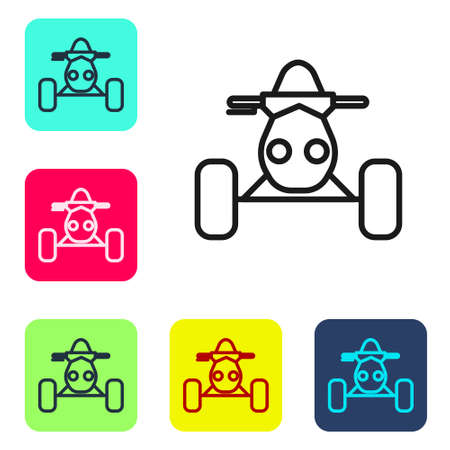 Black line All Terrain Vehicle or ATV motorcycle icon isolated on white background. Quad bike. Extreme sport. Set icons in color square buttons. Vector Illustration Ilustração