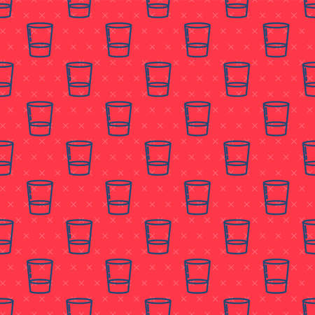 Blue line Glass with water icon isolated seamless pattern on red background. Soda glass. Vector Illustration