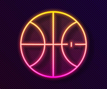 Glowing neon line Basketball ball icon isolated on black background. Sport symbol. Vector Illustration Illustration