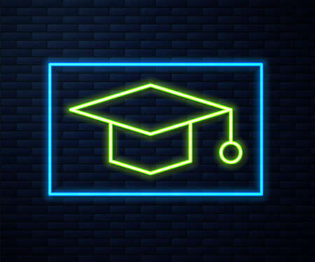 Glowing neon line Graduation cap icon isolated on brick wall background. Graduation hat with tassel icon. Vector Illustration
