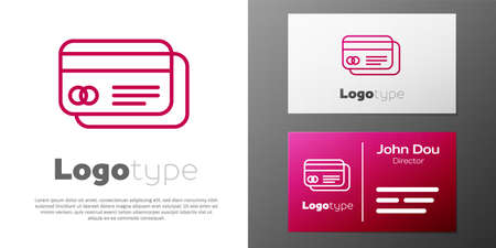 Logotype line Credit card icon isolated on white background. Online payment. Cash withdrawal. Financial operations. Shopping sign.
