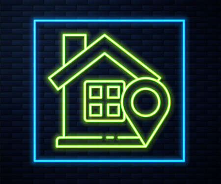Glowing neon line Map pointer with house icon isolated on brick wall background. Home location marker symbol. Vector Illustration Illustration