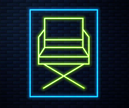 Glowing neon line Director movie chair icon isolated on brick wall background. Film industry. Vector Illustration