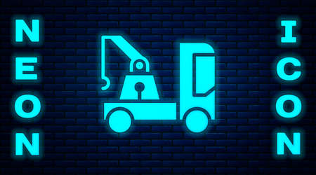 Glowing neon Tow truck icon isolated on brick wall background.  Vector Illustration Illustration