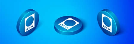 Isometric Electronic scales icon isolated on blue background. Weight measure equipment. Blue circle button. Vector Illustration