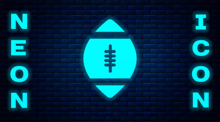 Glowing neon American Football ball icon isolated on brick wall background. Rugby ball icon. Team sport game symbol.  Vector Illustration