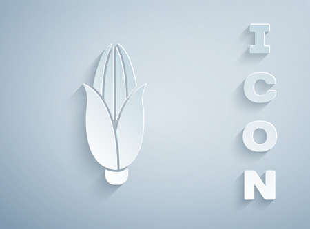 Paper cut Corn icon isolated on grey background. Paper art style. Vector Illustration