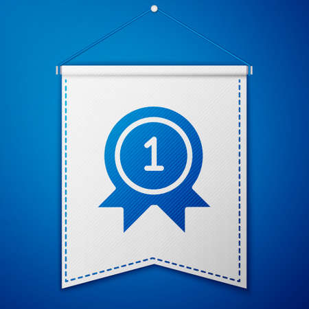 Blue Medal icon isolated on blue background. Winner achievement sign. Award medal. White pennant template. Vector Illustration