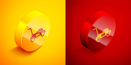 Isometric Lawn mower icon isolated on orange and red background. Lawn mower cutting grass. Circle button. Vector Illustration
