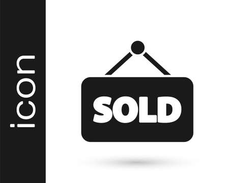 Grey Hanging sign with text Sold icon isolated on white background. Sold sticker. Sold signboard. Vector Illustration Illustration