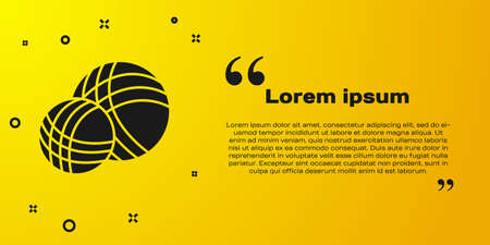 Black Yarn ball icon isolated on yellow background. Label for hand made, knitting or tailor shop. Vector Illustration
