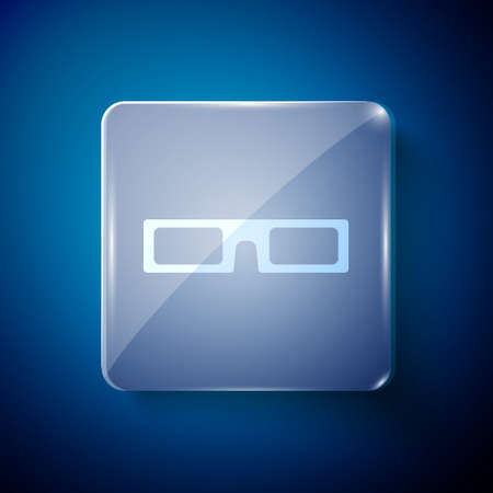 White cinema glasses icon isolated on blue background. Square glass panels. Vector Illustration