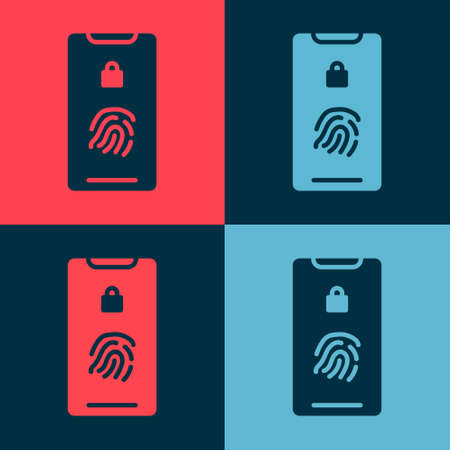 Pop art Smartphone with fingerprint scanner icon isolated on color background. Concept of security, personal access via finger on mobile. Vector Illustration
