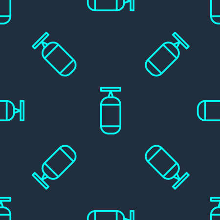 Green line Punching bag icon isolated seamless pattern on blue background. Vector Illustration