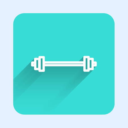 White line Barbell icon isolated with long shadow. Muscle lifting icon, fitness barbell, gym, sports equipment, exercise bumbbell. Green square button. Vector Illustration Illustration