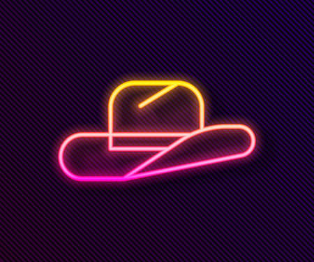 Glowing neon line Western cowboy hat icon isolated on black background. Vector Illustration