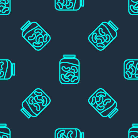 Green line Pickled cucumbers in a jar icon isolated seamless pattern on blue background. Vector Illustration