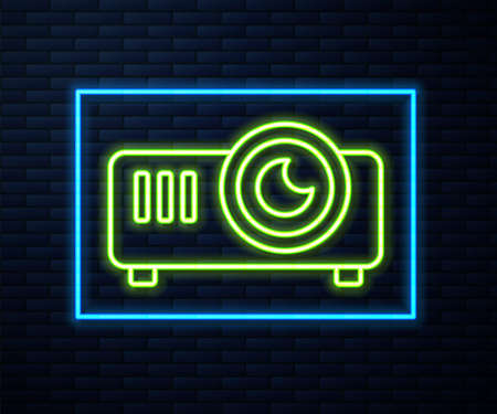 Glowing neon line Presentation, movie, film, media projector icon isolated on brick wall background. Vector Illustration Illustration