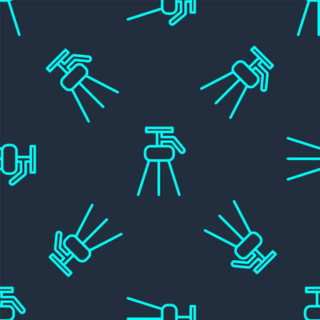 Green line Tripod icon isolated seamless pattern on blue background. Vector Illustration