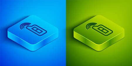 Isometric line Car key with remote icon isolated on blue and green background. Car key and alarm system. Square button. Vector Illustration