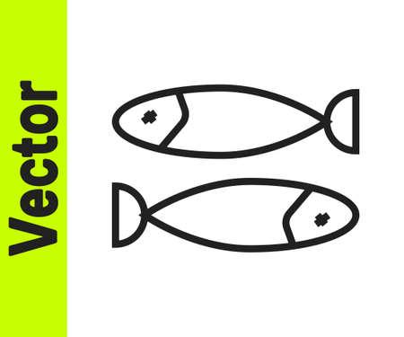 Black line Dried fish icon isolated on white background. Vector Illustration Ilustração