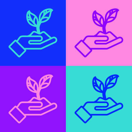 Pop art line Plant in hand of environmental protection icon isolated on color background. Seed and seedling. Planting sapling. Vector Illustration