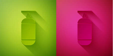 Paper cut Punching bag icon isolated on green and pink background. Paper art style. Vector Illustration