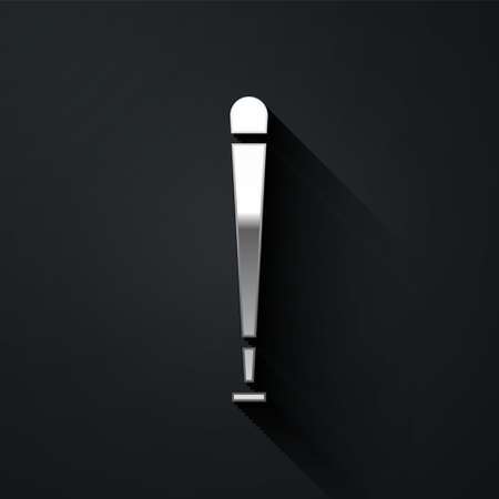 Silver Baseball bat icon isolated on black background. Sport equipment. Long shadow style. Vector Illustration