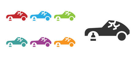 Black Broken car icon isolated on white background. Car crush. Set icons colorful. Vector Illustration