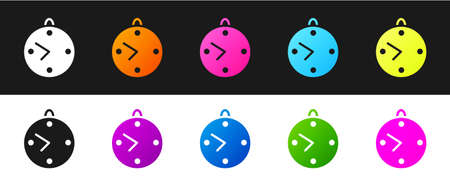 Set Clock icon isolated on black and white background. Time symbol. Vector Illustration