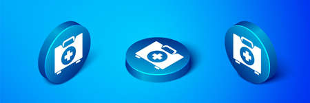 Isometric First aid kit icon isolated on blue background. Medical box with cross. Medical equipment for emergency. Healthcare concept. Blue circle button. Vector Illustration Ilustracja
