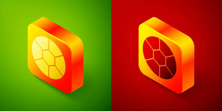 Isometric Football ball icon isolated on green and red background. Soccer ball. Sport equipment. Square button. Vector Illustration