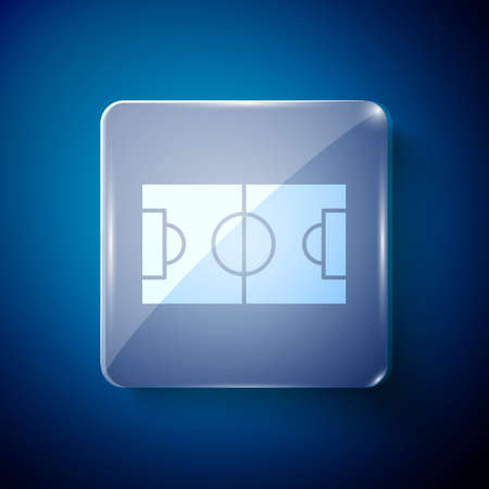 White Football or soccer field icon isolated on blue background. Square glass panels. Vector Illustration 向量圖像