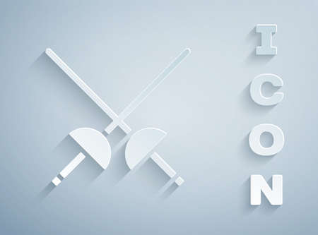 Paper cut Fencing icon isolated on grey background. Sport equipment. Paper art style. Vector Illustration