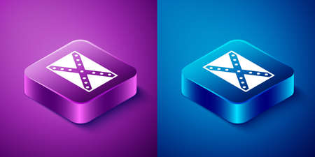 Isometric National flag of the Confederate States of America icon isolated on blue and purple background. Square button. Vector Illustration