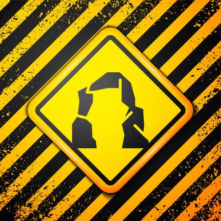 Black Grand canyon icon isolated on yellow background. National park in Arizona United States. Warning sign. Vector Illustration