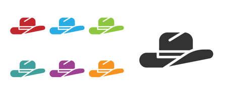 Black Western cowboy hat icon isolated on white background. Set icons colorful. Vector Illustration