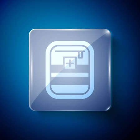 White First aid kit icon isolated on blue background. Medical box with cross. Medical equipment for emergency. Healthcare concept. Square glass panels. Vector Illustration Ilustracja